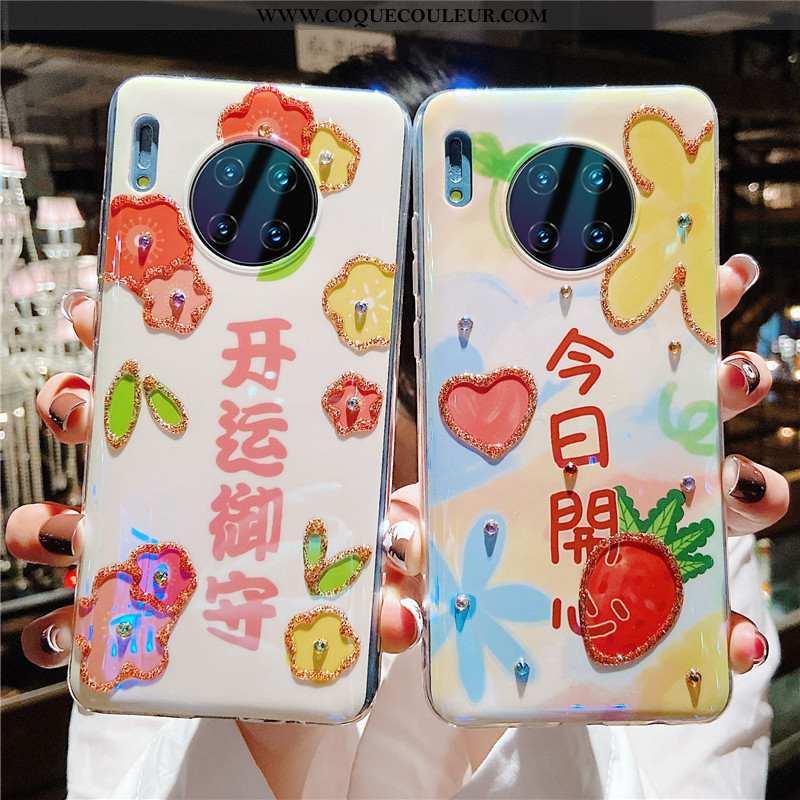 Étui Huawei Mate 30 Pro Fluide Doux Coque Protection, Huawei Mate 30 Pro Silicone Cœur Rose