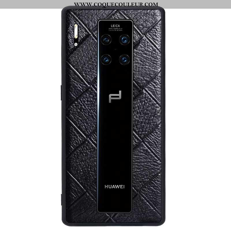 Housse Huawei Mate 30 Rs Cuir Tout Compris Étui, Étui Huawei Mate 30 Rs Fluide Doux Luxe Noir