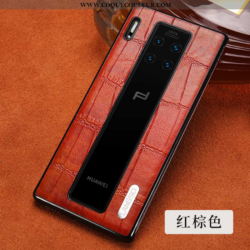Coque Huawei Mate 30 Rs Cuir Luxe Véritable, Housse Huawei Mate 30 Rs Protection Tout Compris Rouge