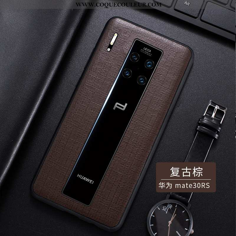 Coque Huawei Mate 30 Rs Cuir Véritable Simple Luxe, Housse Huawei Mate 30 Rs Ultra Cuir Haut Marron