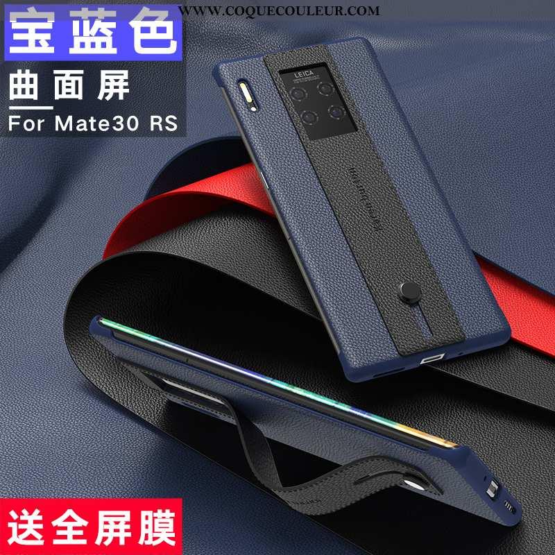 Housse Huawei Mate 30 Rs Cuir Véritable Bleu Marin Étui, Étui Huawei Mate 30 Rs Cuir Protection Bleu