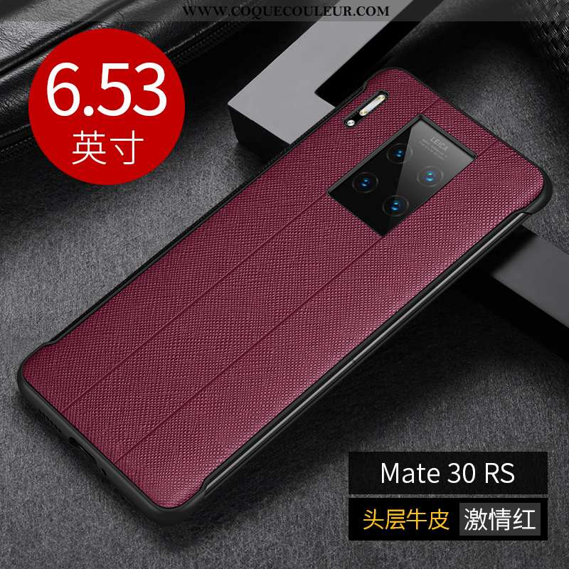 Housse Huawei Mate 30 Rs Protection Vin Rouge Cuir Véritable, Étui Huawei Mate 30 Rs Créatif Coque B
