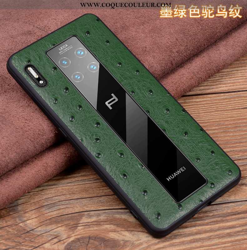 Étui Huawei Mate 30 Rs Protection Coque Cuir, Huawei Mate 30 Rs Cuir Véritable Verte