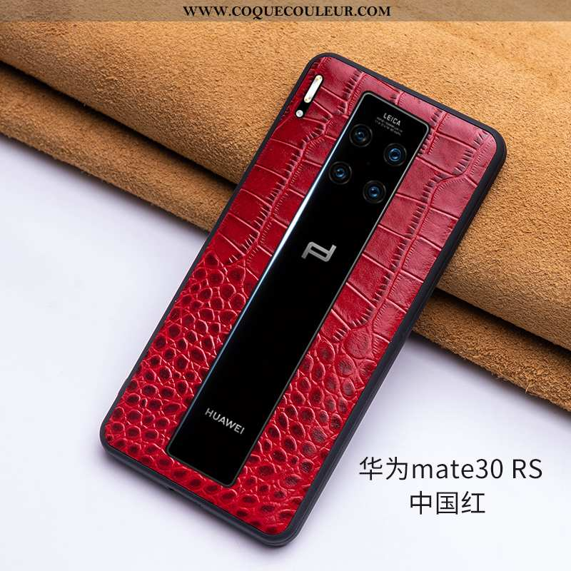 Étui Huawei Mate 30 Rs Cuir Véritable Simple Vin Rouge, Coque Huawei Mate 30 Rs Ultra Protection Bor