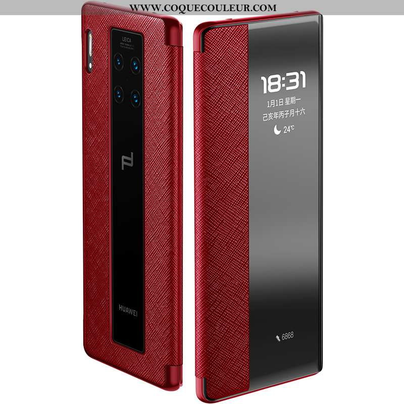 Étui Huawei Mate 30 Rs Luxe Bovins Téléphone Portable, Coque Huawei Mate 30 Rs Cuir Véritable Clamsh
