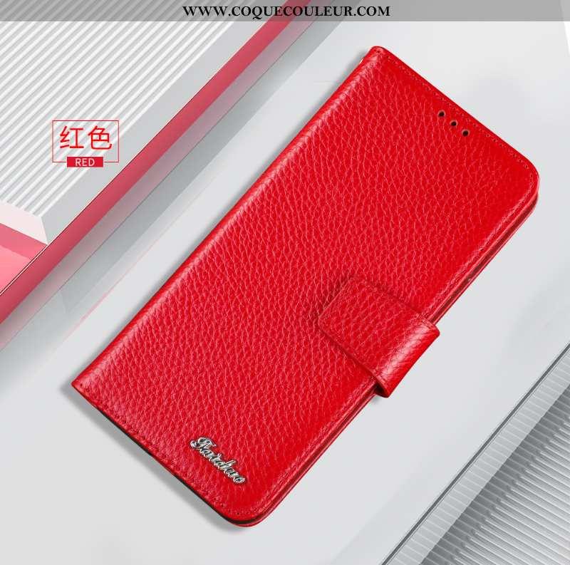 Coque Huawei Nova 5t Cuir Véritable Housse Incassable, Huawei Nova 5t Cuir Rouge