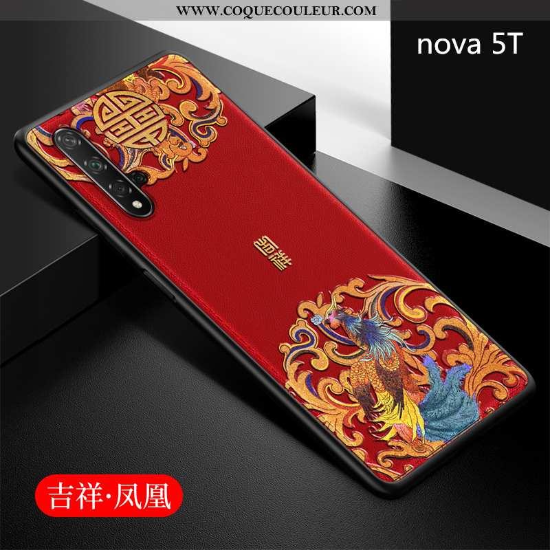 Étui Huawei Nova 5t Fluide Doux Légère Protection, Coque Huawei Nova 5t Silicone Rouge