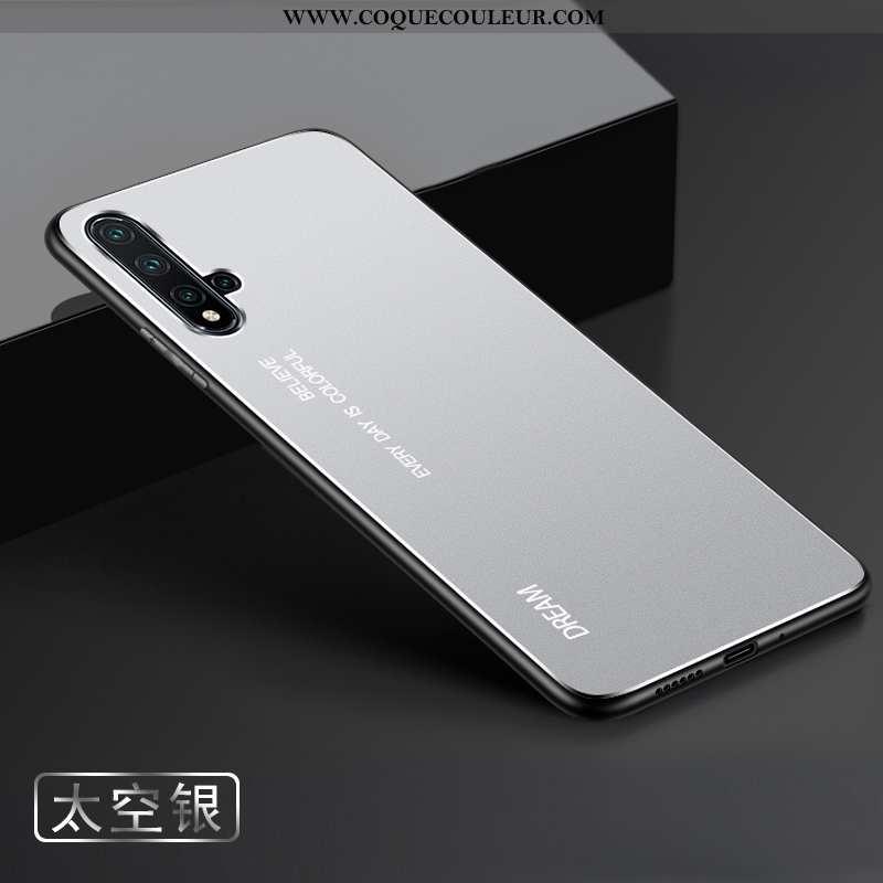 Étui Huawei Nova 5t Métal Argent Étui, Coque Huawei Nova 5t Délavé En Daim