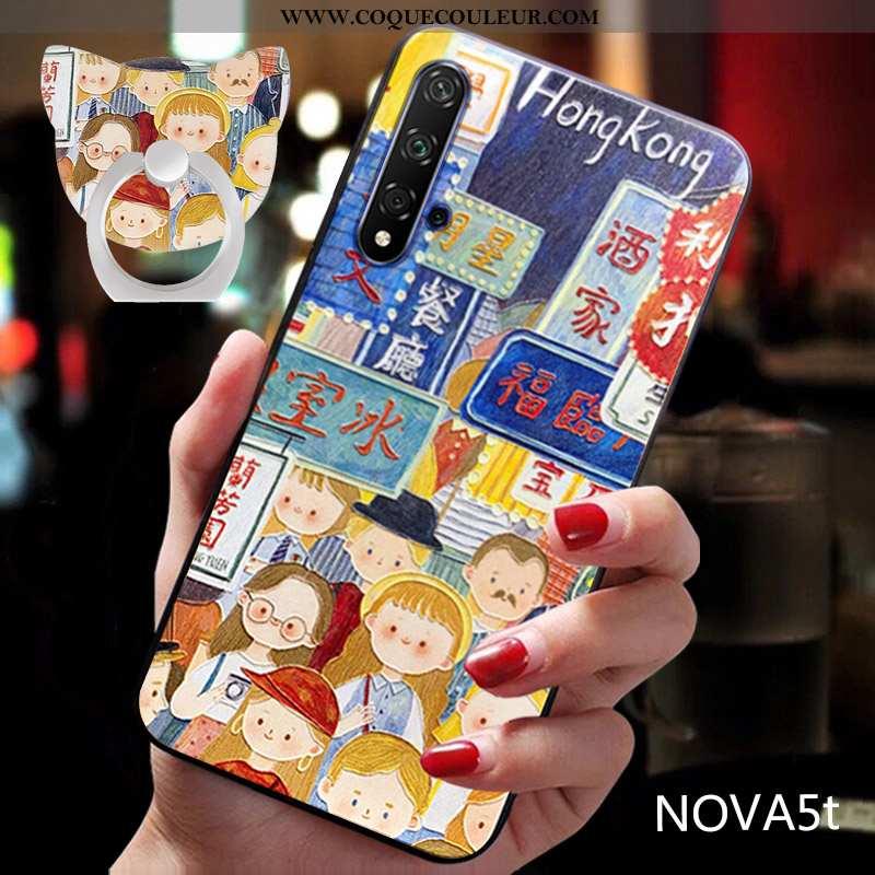 Coque Huawei Nova 5t Protection Fluide Doux Bleu, Housse Huawei Nova 5t Délavé En Daim Étui Bleu