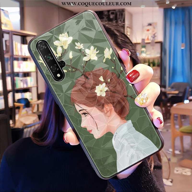 Housse Huawei Nova 5t Fluide Doux Vert Petit, Étui Huawei Nova 5t Modèle Fleurie Téléphone Portable