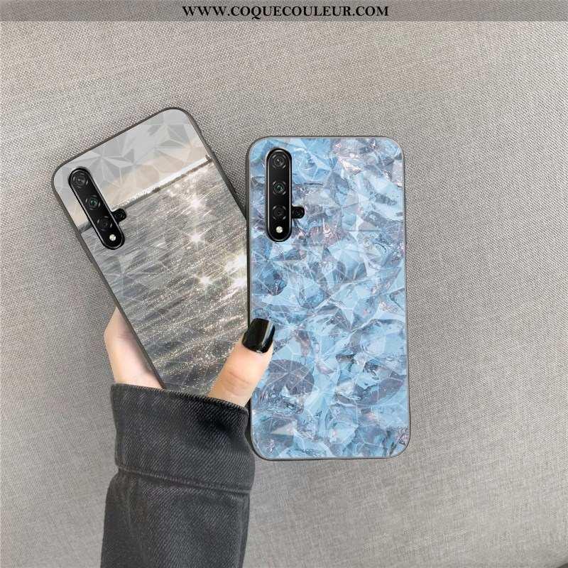 Housse Huawei Nova 5t Fluide Doux Coque Losange, Étui Huawei Nova 5t Net Rouge Téléphone Portable Bl