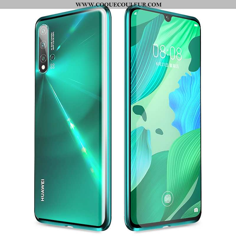 Coque Huawei Nova 5t Verre Étui Vert, Housse Huawei Nova 5t Protection Magnétisme Verte