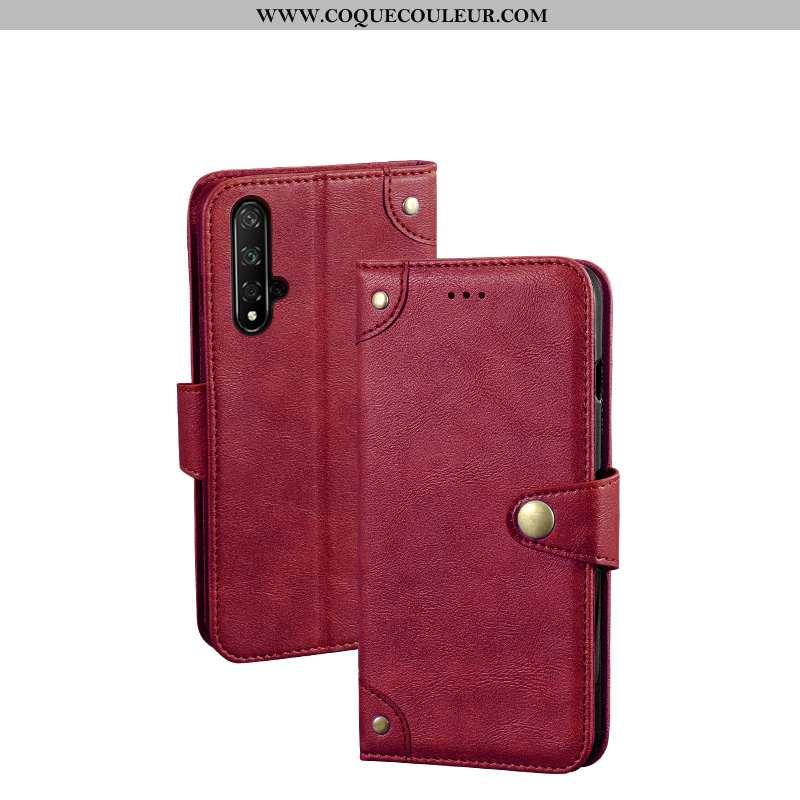 Étui Huawei Nova 5t Métal Une Agrafe Vin Rouge, Coque Huawei Nova 5t Personnalité Téléphone Portable