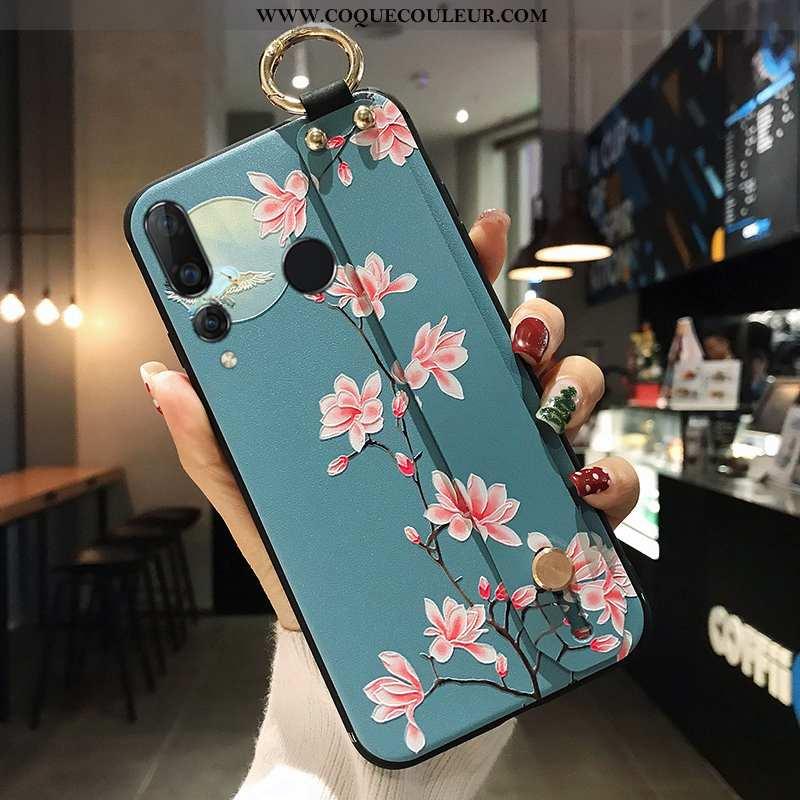 Coque Huawei P Smart+ 2020 Protection Étui Fleur, Housse Huawei P Smart+ 2020 Tout Compris Bleu