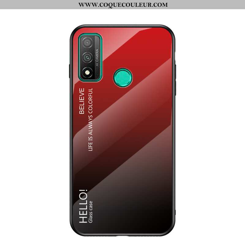 Coque Huawei P Smart 2020 Protection Rouge Fluide Doux, Housse Huawei P Smart 2020 Verre Silicone