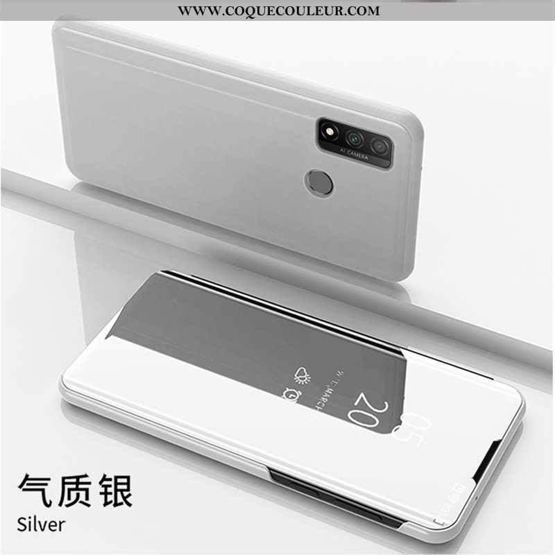 Étui Huawei P Smart 2020 Cuir Housse Téléphone Portable, Coque Huawei P Smart 2020 Blanc Blanche