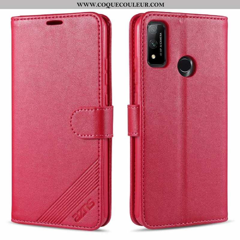 Housse Huawei P Smart 2020 Cuir Téléphone Portable Rouge, Étui Huawei P Smart 2020 Fluide Doux Rose