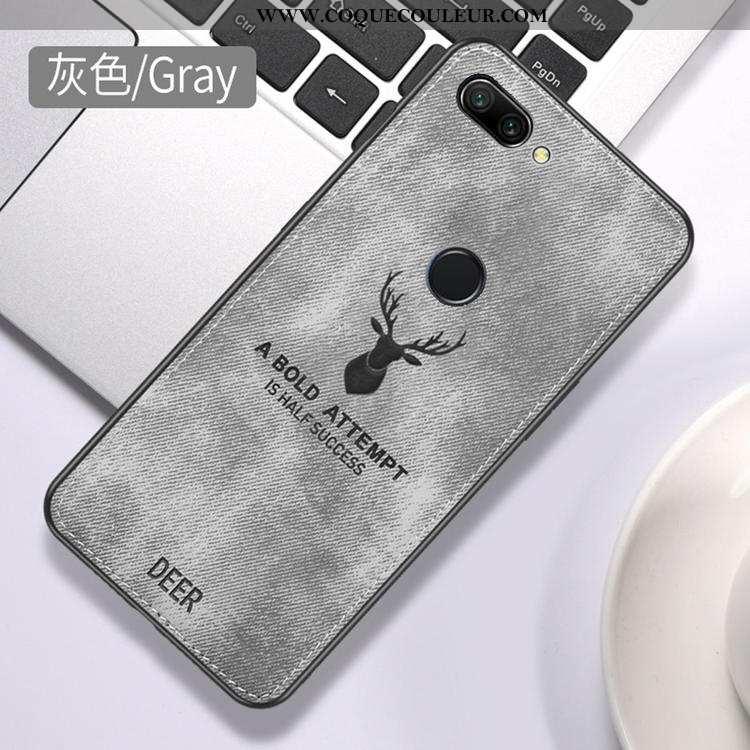 Étui Huawei P Smart Personnalité Incassable Difficile, Coque Huawei P Smart Créatif Tissu Gris