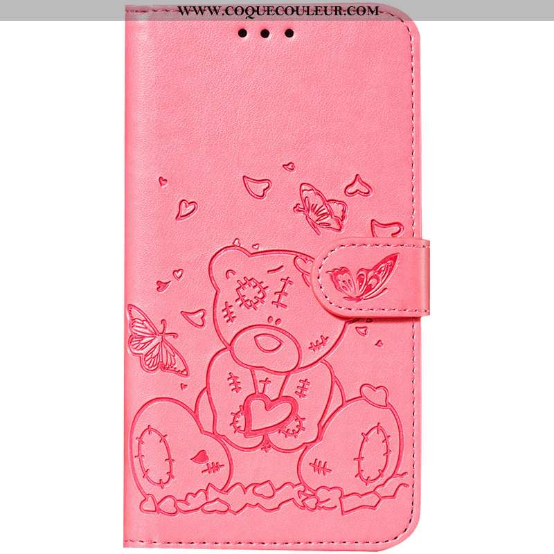 Housse Huawei P Smart Cuir Clamshell Téléphone Portable, Étui Huawei P Smart Fluide Doux Rose
