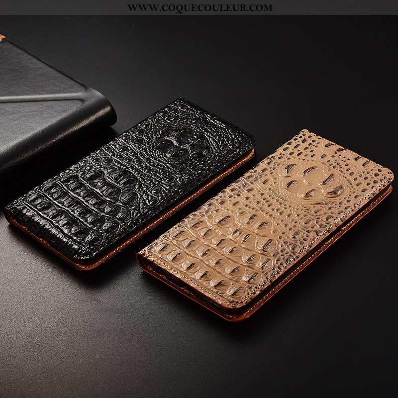 Étui Huawei P Smart Cuir Véritable Téléphone Portable Protection, Coque Huawei P Smart Cuir Noir