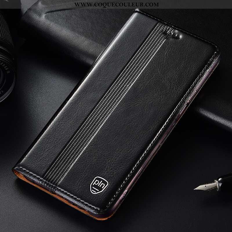 Housse Huawei P Smart Protection Téléphone Portable Noir, Étui Huawei P Smart Cuir Véritable 2020 No