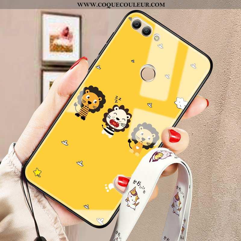 Coque Huawei P Smart Fluide Doux Tendance Miroir, Housse Huawei P Smart Silicone Tout Compris Jaune