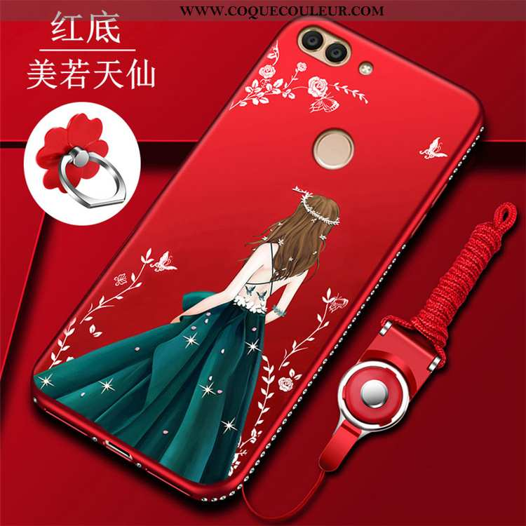 Coque Huawei P Smart Protection Silicone Net Rouge, Housse Huawei P Smart Incruster Strass Étui Roug
