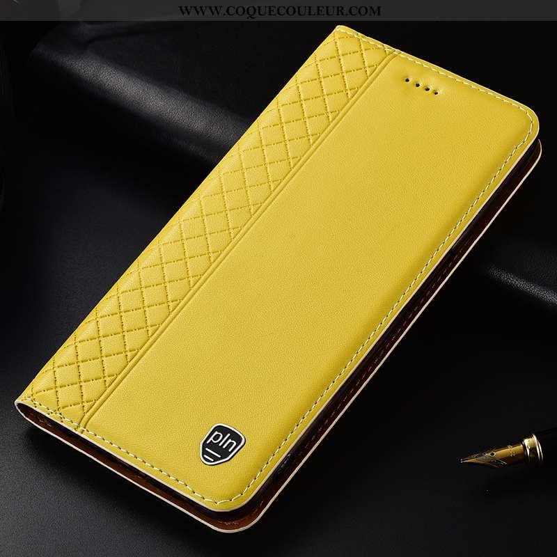 Coque Huawei P Smart Cuir Véritable Étui, Housse Huawei P Smart Protection Téléphone Portable Jaune