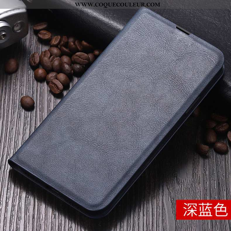 Housse Huawei P Smart Fluide Doux Incassable Étui, Étui Huawei P Smart Protection Cuir Bleu Foncé