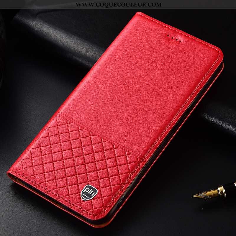 Coque Huawei P Smart Cuir Véritable Plaid, Housse Huawei P Smart Cuir Téléphone Portable Rouge
