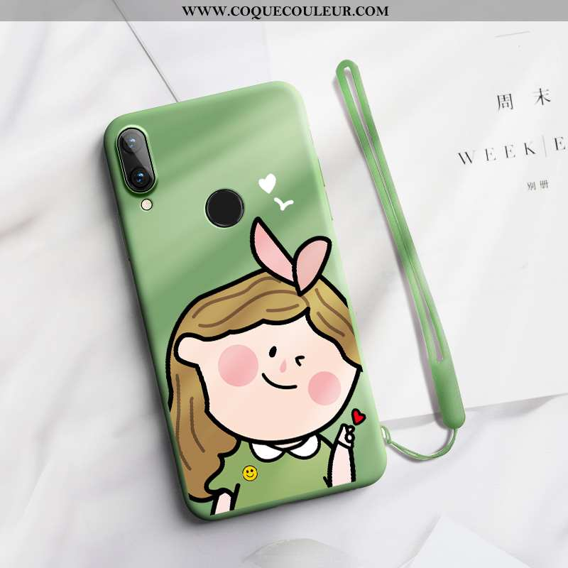 Housse Huawei P Smart+ Charmant Simple Nouveau, Étui Huawei P Smart+ Fluide Doux Amoureux Verte