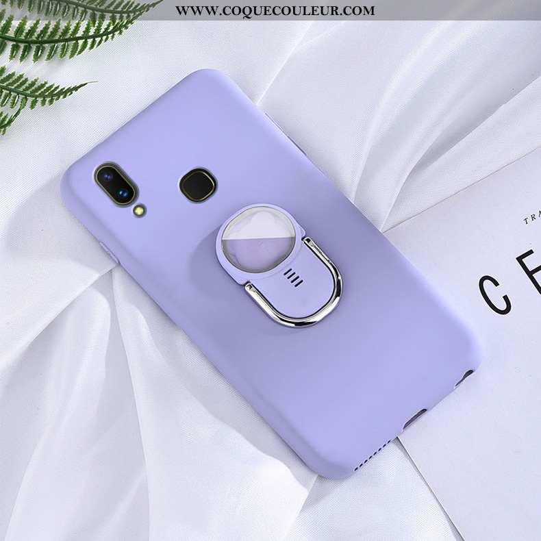 Housse Huawei P Smart+ Délavé En Daim Violet Incassable, Étui Huawei P Smart+ Fluide Doux Tout Compr