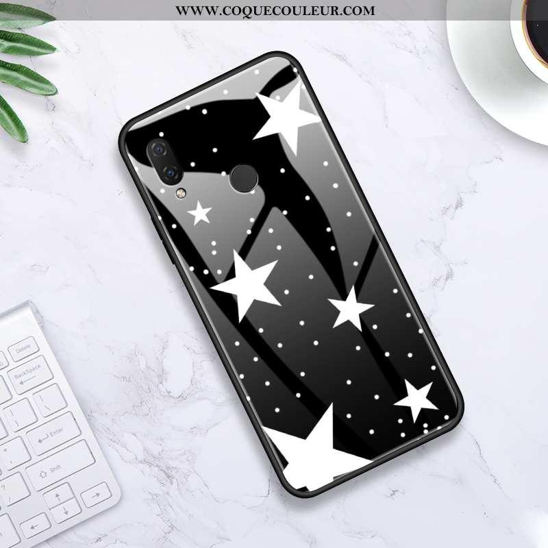 Housse Huawei P Smart+ Protection Tendance Créatif, Étui Huawei P Smart+ Verre Simple Noir