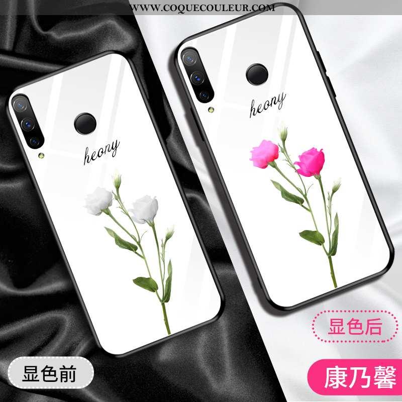 Housse Huawei P Smart+ Verre Net Rouge Rose, Étui Huawei P Smart+ Tendance Coque Rose