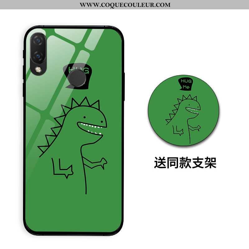 Housse Huawei P Smart+ Personnalité Dragon Silicone, Étui Huawei P Smart+ Créatif Difficile Verte