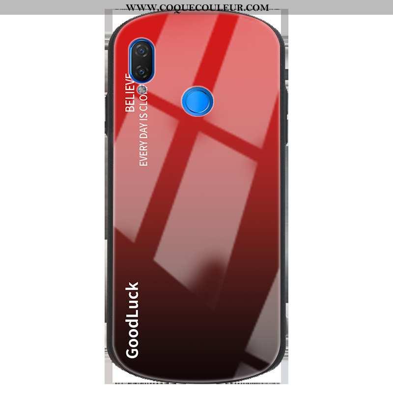 Coque Huawei P Smart+ Créatif Clair Nouveau, Housse Huawei P Smart+ Protection Verre Rouge