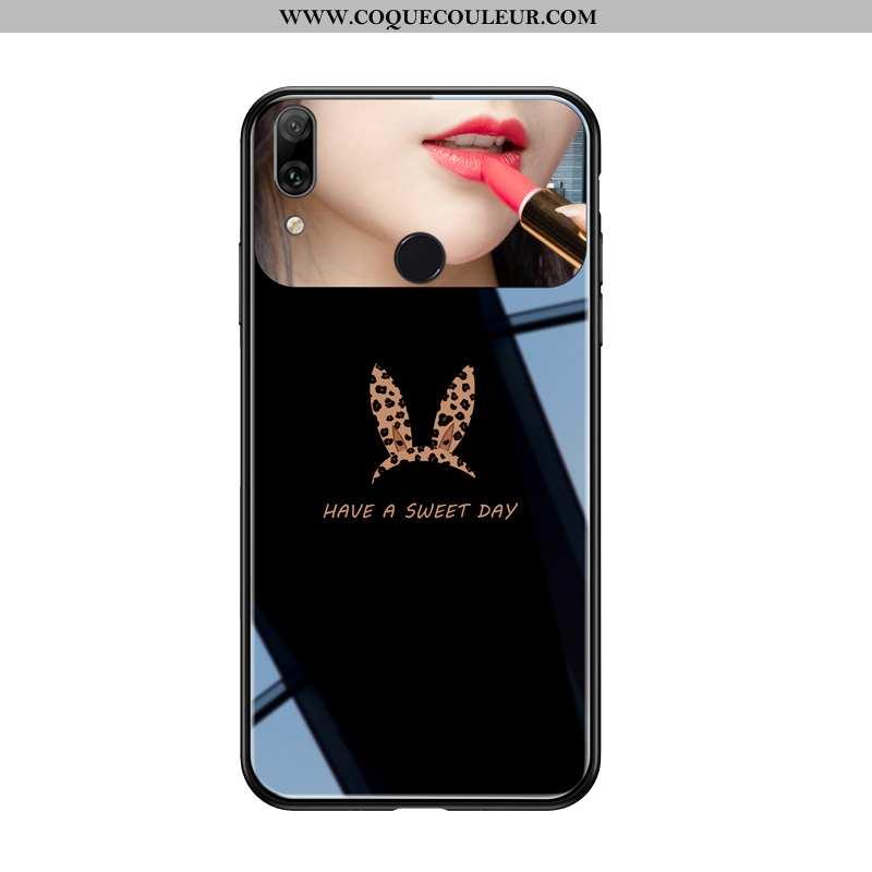 Étui Huawei P Smart+ Verre Tout Compris Coque, Coque Huawei P Smart+ Personnalité Léopard Noir