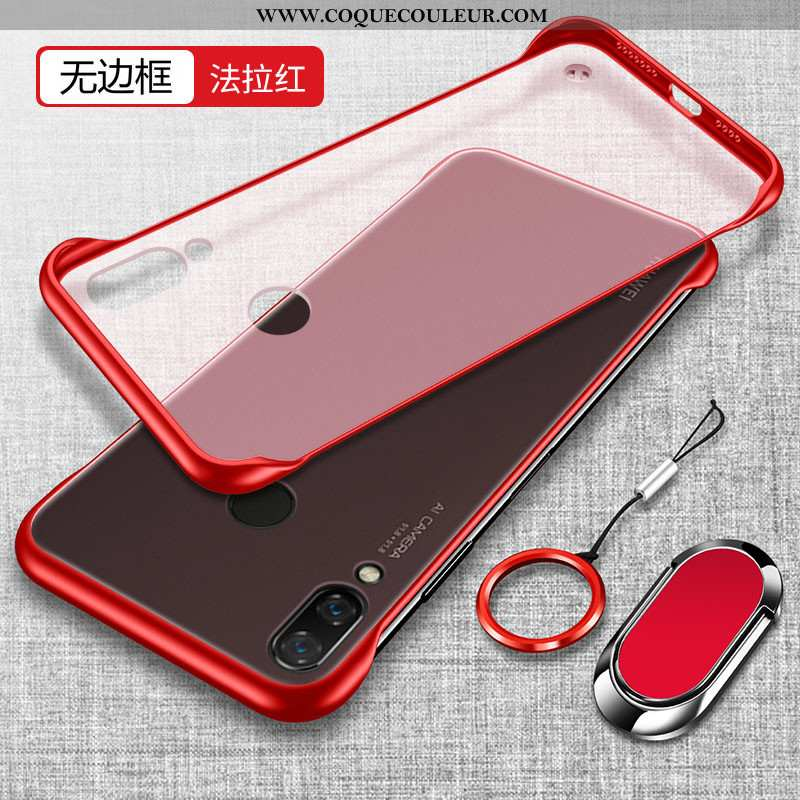 Étui Huawei P Smart+ Tendance Transparent Protection, Coque Huawei P Smart+ Légère Incassable Rouge