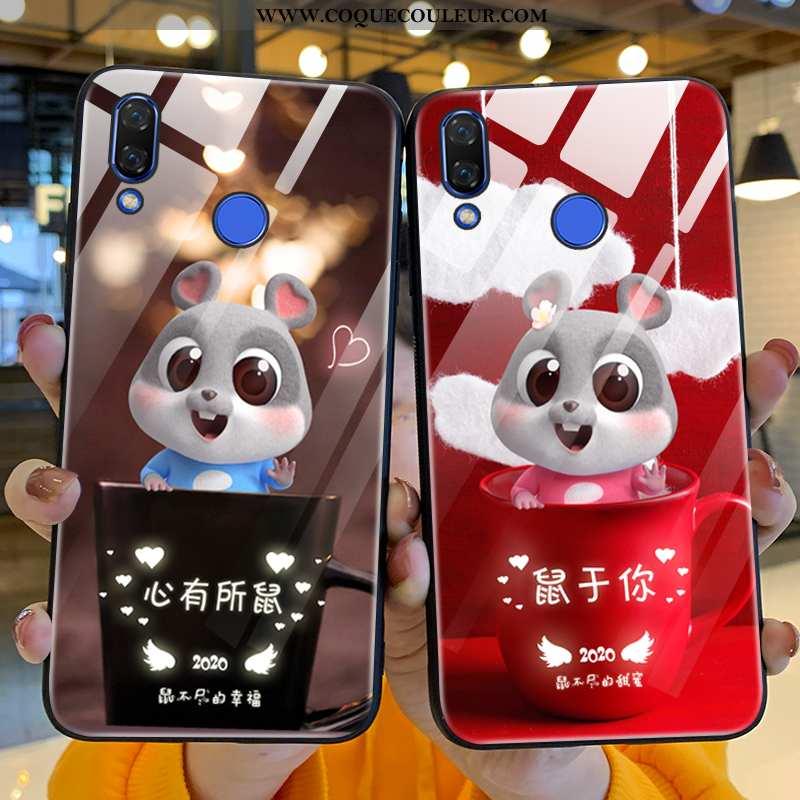 Coque Huawei P Smart+ Verre Dessin Animé Protection, Housse Huawei P Smart+ Personnalité Peinture Bo