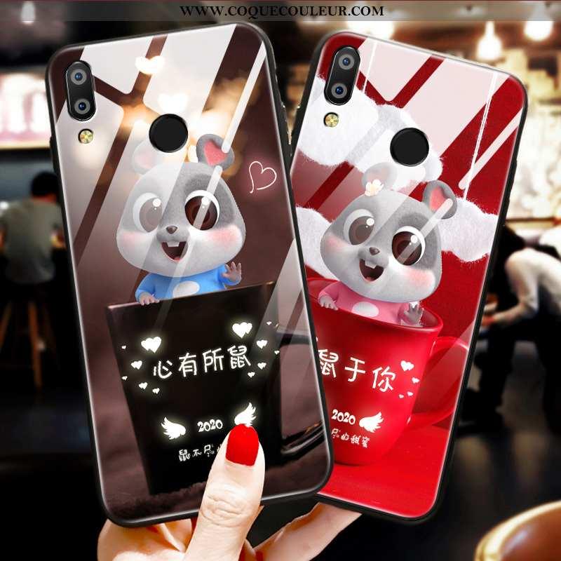Housse Huawei P Smart+ Ornements Suspendus Rat Verre, Étui Huawei P Smart+ Dessin Animé Tout Compris