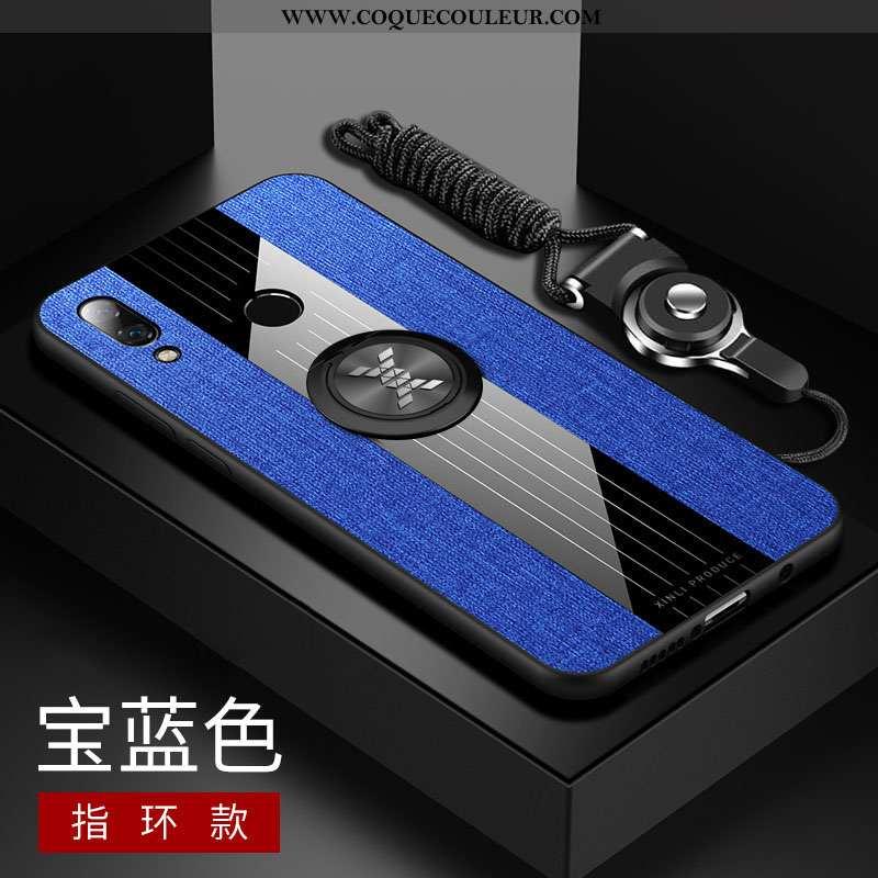 Étui Huawei P Smart+ Protection Tendance Étui, Coque Huawei P Smart+ Verre Difficile Bleu