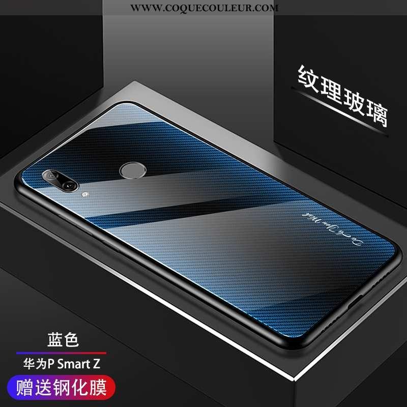 Étui Huawei P Smart Z Verre Protection Étui, Coque Huawei P Smart Z Tendance Membrane Bleu