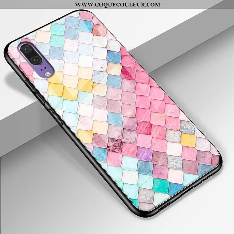 Coque Huawei P20 Cuir Véritable Tout Compris Étui, Housse Huawei P20 Silicone Multicolore Coloré
