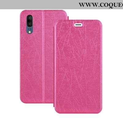 Coque Huawei P20 Cuir Housse Coque, Huawei P20 Fluide Doux Téléphone Portable Rose