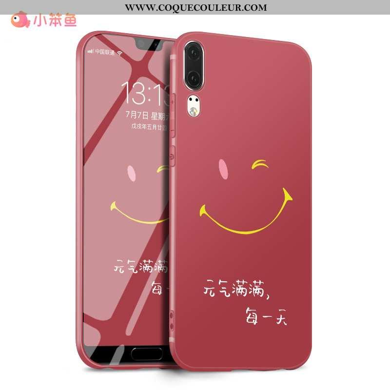 Étui Huawei P20 Silicone Coque Net Rouge, Huawei P20 Délavé En Daim Luxe Rouge