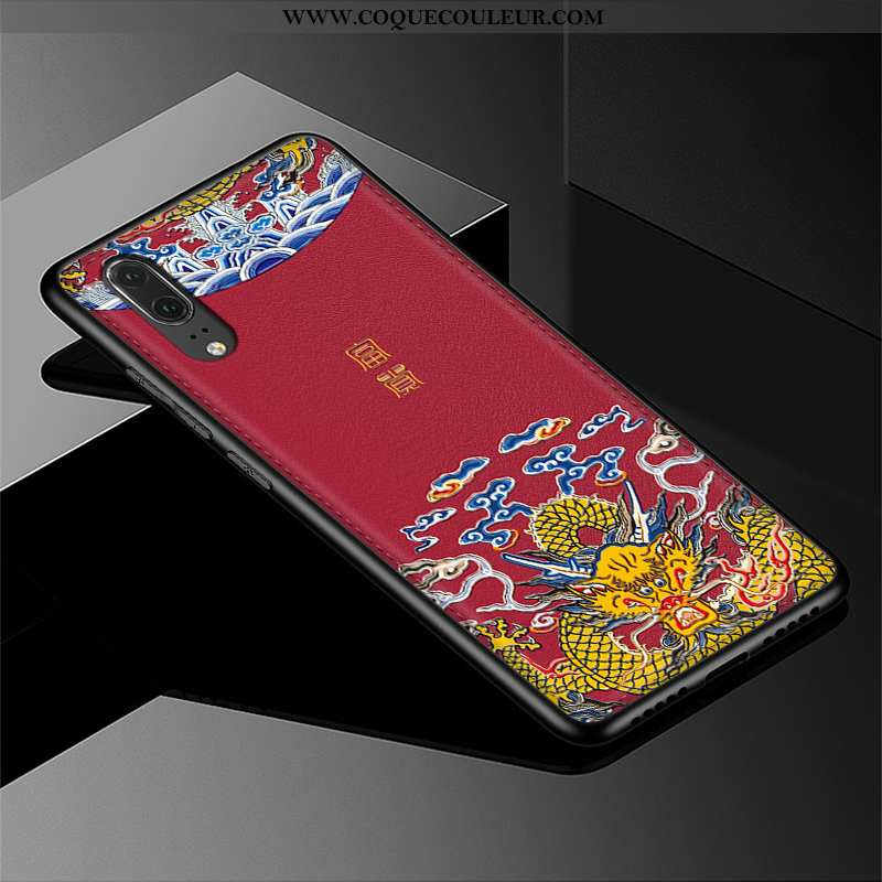 Housse Huawei P20 Protection Téléphone Portable Vin Rouge, Étui Huawei P20 Gaufrage Cuir Bordeaux