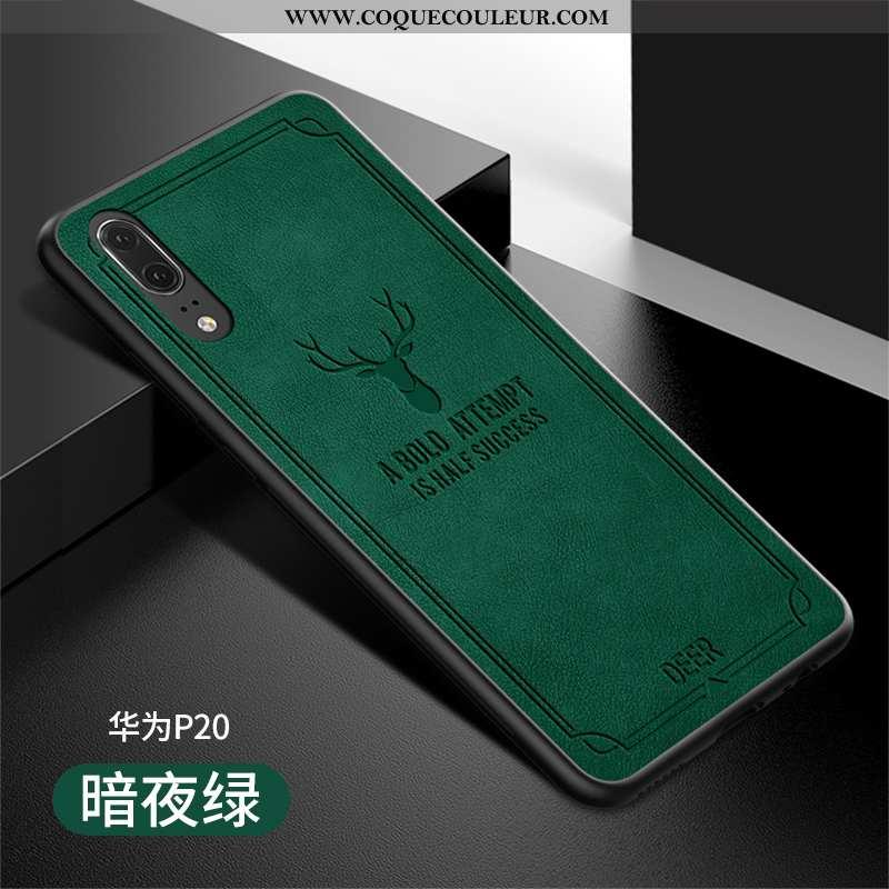 Étui Huawei P20 Protection Vert Luxe, Coque Huawei P20 Légère Verte