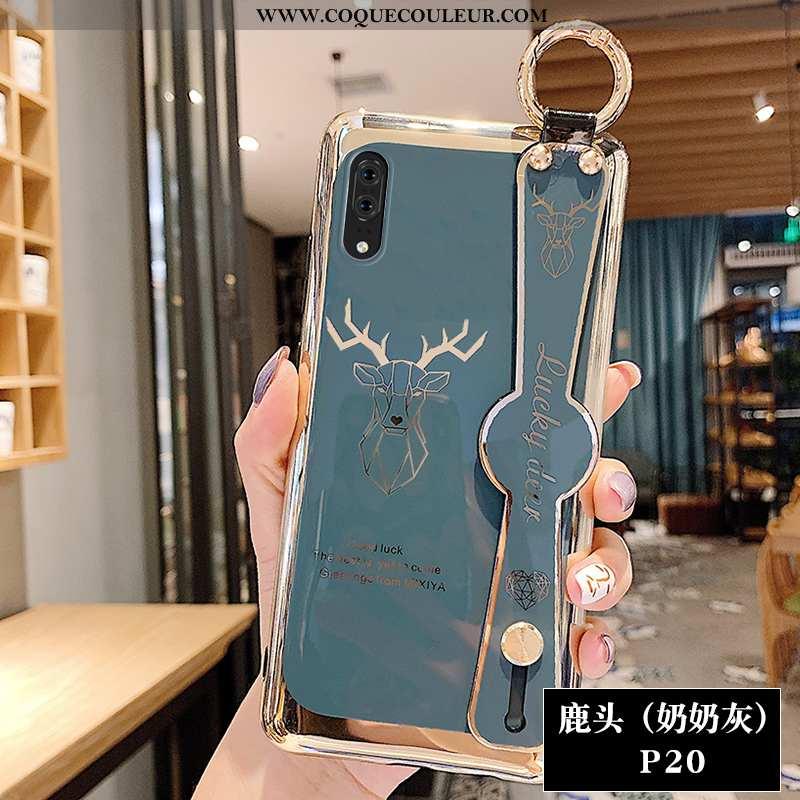 Housse Huawei P20 Dessin Animé Net Rouge Personnalité, Étui Huawei P20 Fluide Doux Cerf Gris