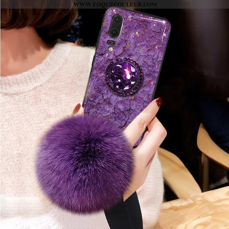 Coque Huawei P20 Modèle Fleurie Jeunesse Grand, Housse Huawei P20 Protection Étui Violet
