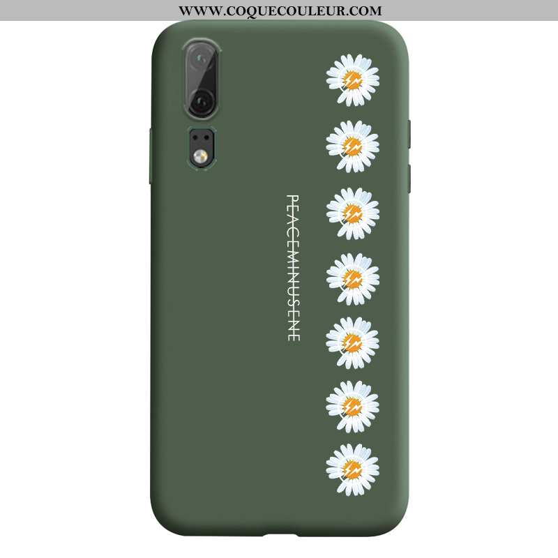 Étui Huawei P20 Protection Coque Petite Marguerite, Huawei P20 Tendance Vert Verte